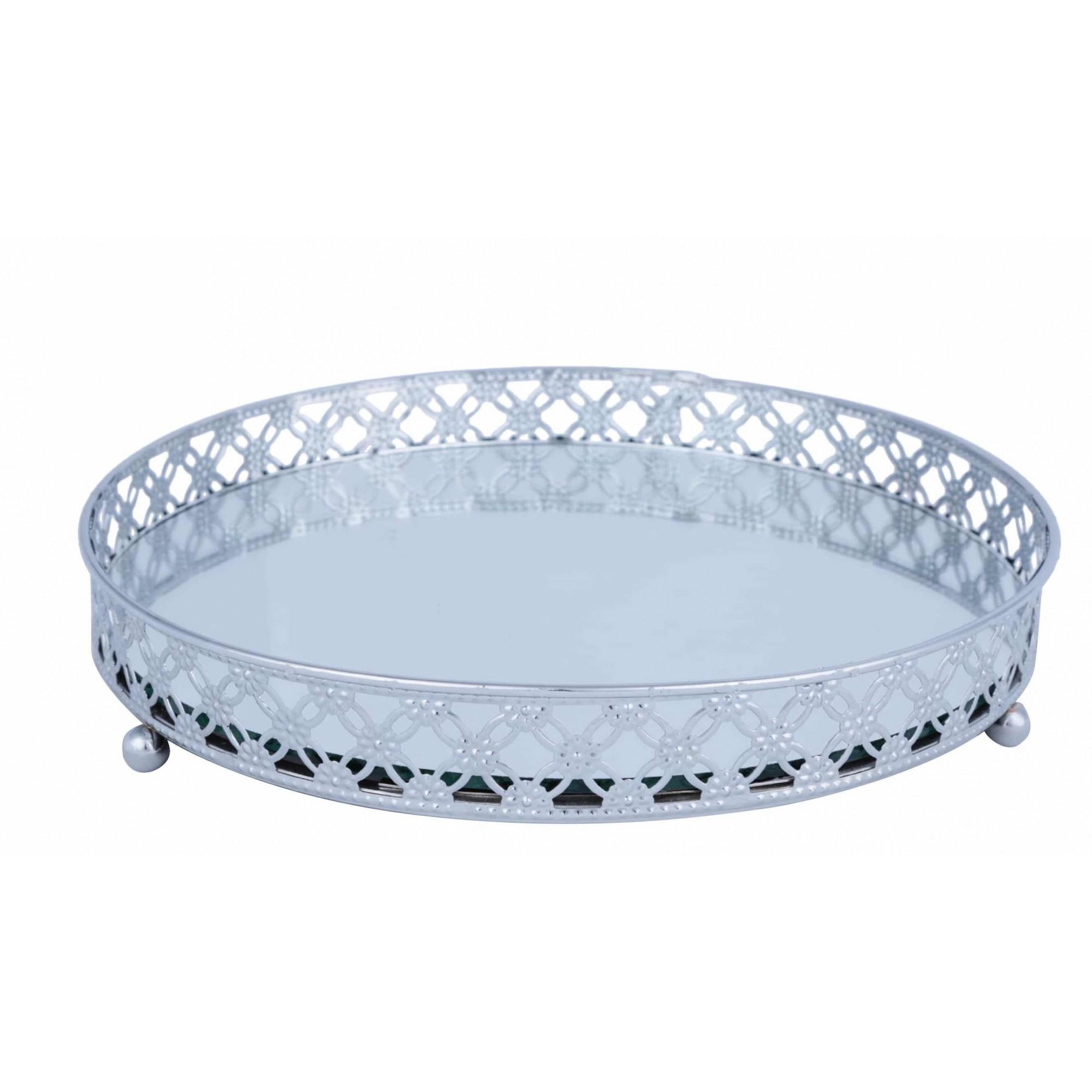 Bandeja Espelhada Metal Prata Redonda Luxo para Lavabo / Bar / Sala 25x25x3,7cm