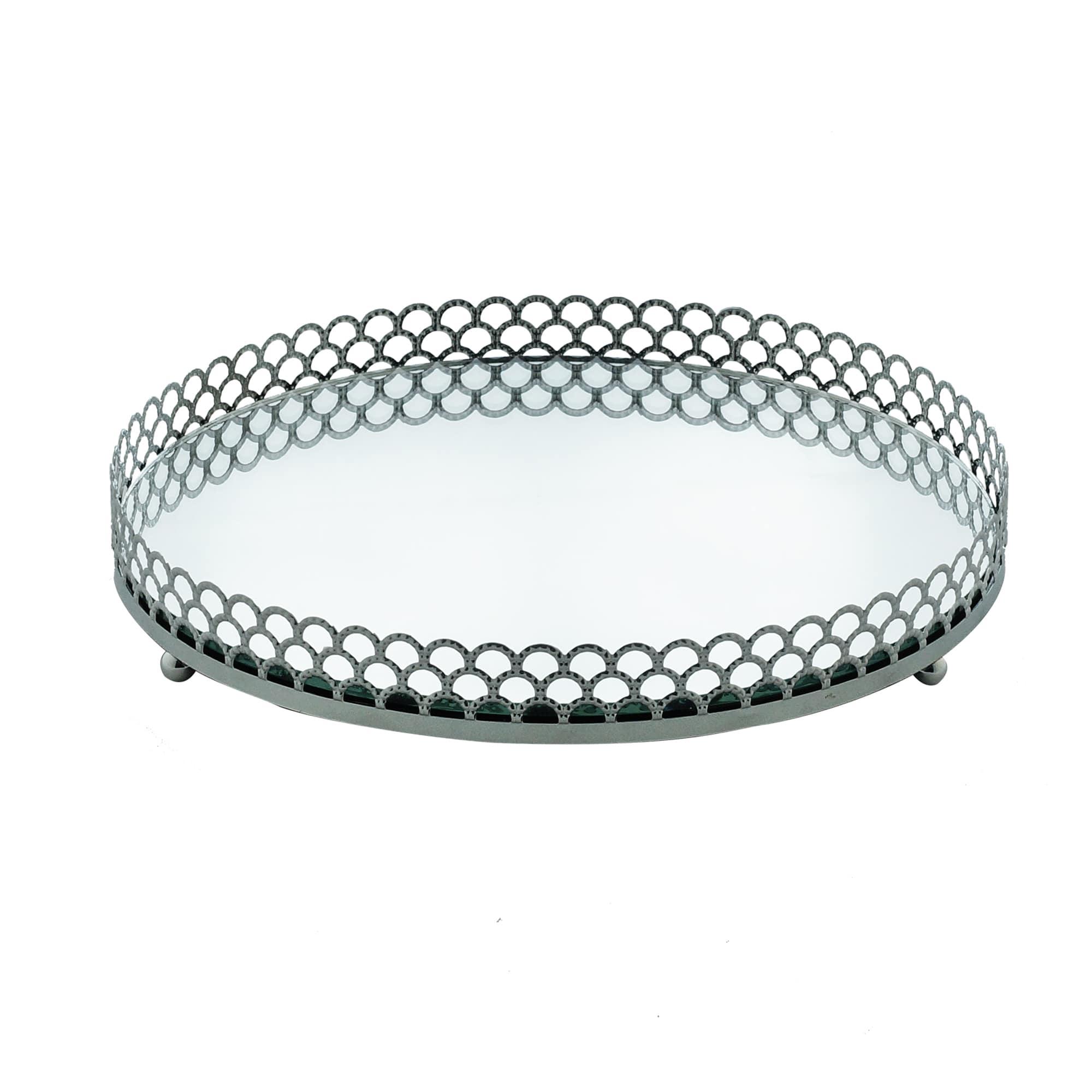 Bandeja Espelhada Prata de Metal - Luxo para Lavabo / Bar / Sala 20 x 20 x 3 cm
