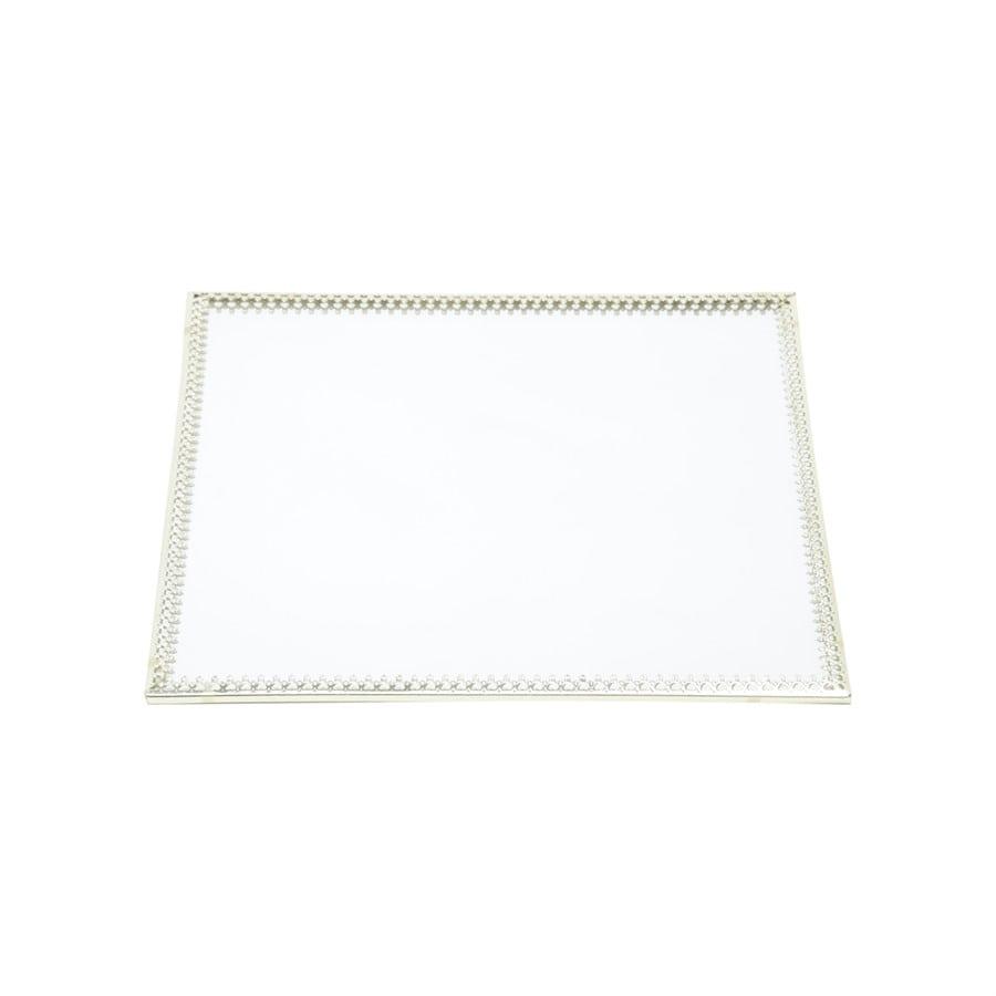 Bandeja Espelho Quadrada Dourada Luxo para Lavabo / Bar / Sala