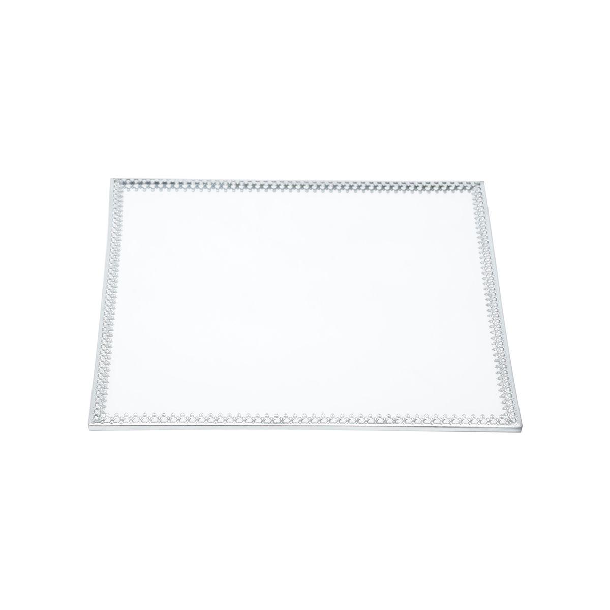 Bandeja Espelho Quadrada Prata Luxo para Lavabo / Bar / Sala