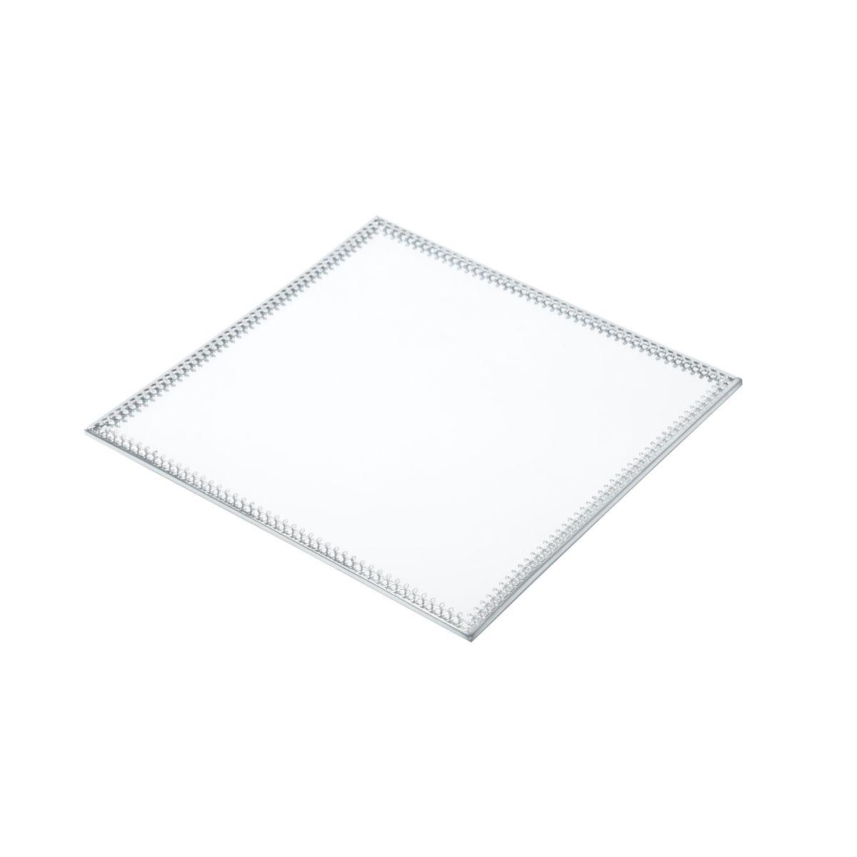 Bandeja Espelho Quadrada Prata Maior Luxo para Lavabo / Bar / Sala