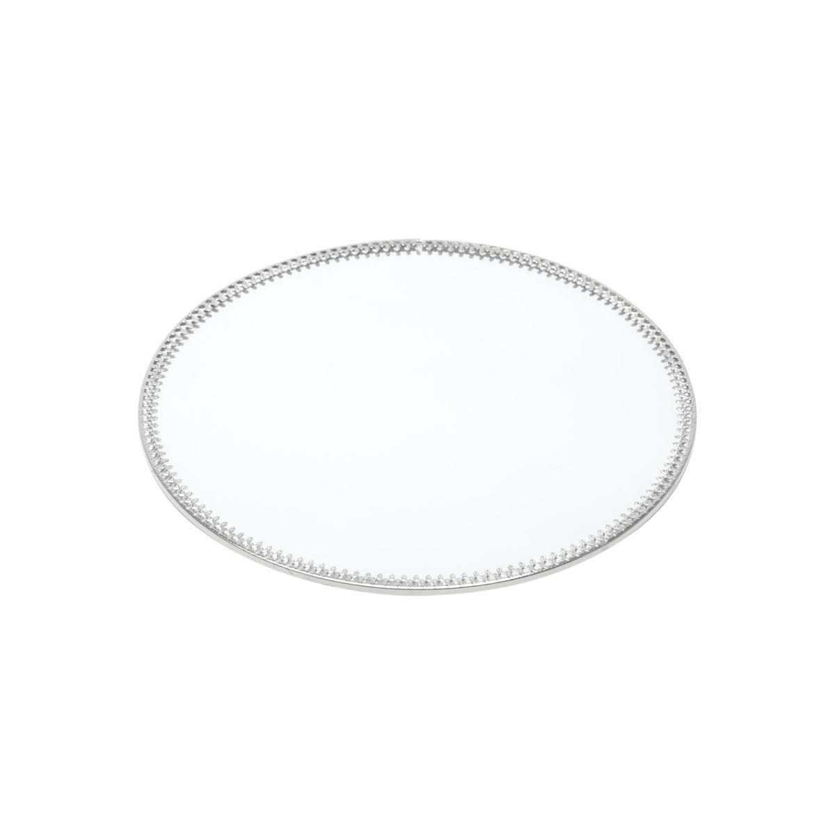 Bandeja Espelho Redonda Prata Luxo para Lavabo / Bar / Sala