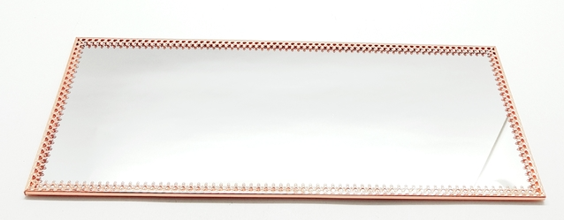 Bandeja Espelho Retangular Cobre - Luxo para Lavabo / Bar / Sala