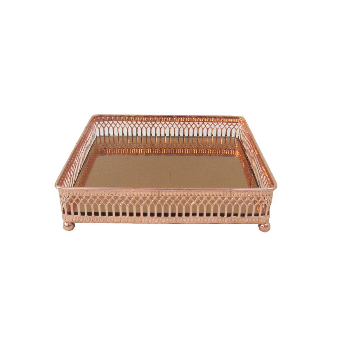 Bandeja Espelhada Rose Gold Quadrada - Luxo para Sala / Bar / Lavabo