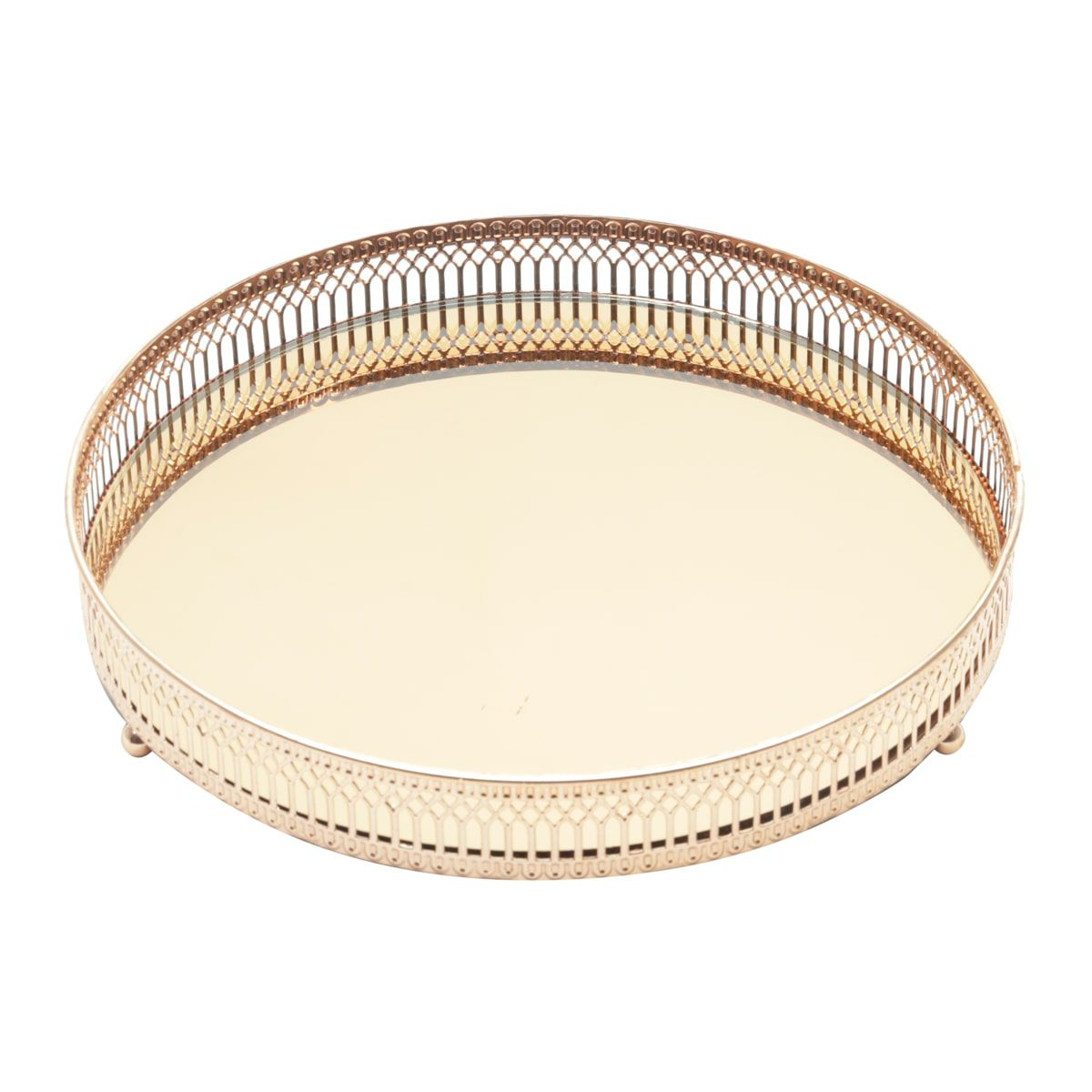 Bandeja Espelhada de Metal Redonda Rose Gold - Luxo para Lavabo / Bar / Sala