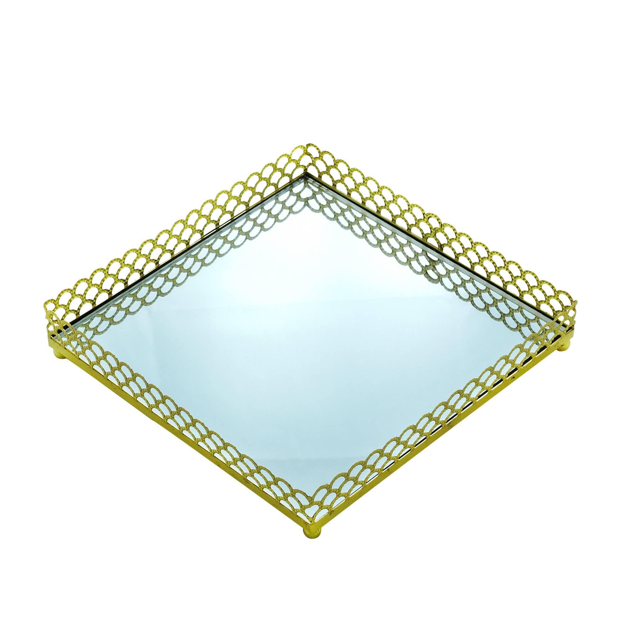 Bandeja Espelhada de Metal Dourada Quadrada - Luxo para Lavabo / Bar / Sala