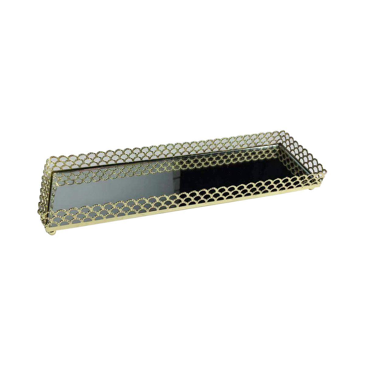 Bandeja Espelhada de Metal Retangular Dourada - Luxo para Lavabo / Bar / Sala  28 x 8,5 x 3 cm