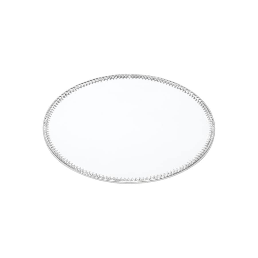 Bandeja Prata Redonda de Metal com Espelho Para Decoração