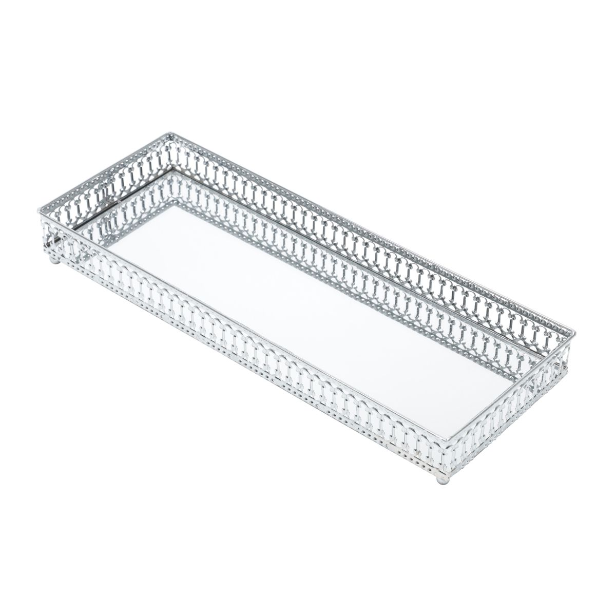 Bandeja Prata Retangular Maior 30 x 11 x 3,5 cm