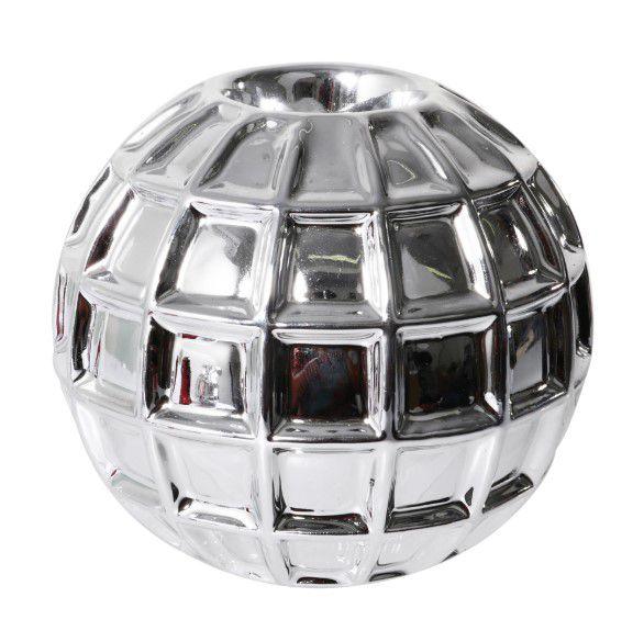 Bola Decorativa em Cerâmica Prata Decoração Casa/Sala