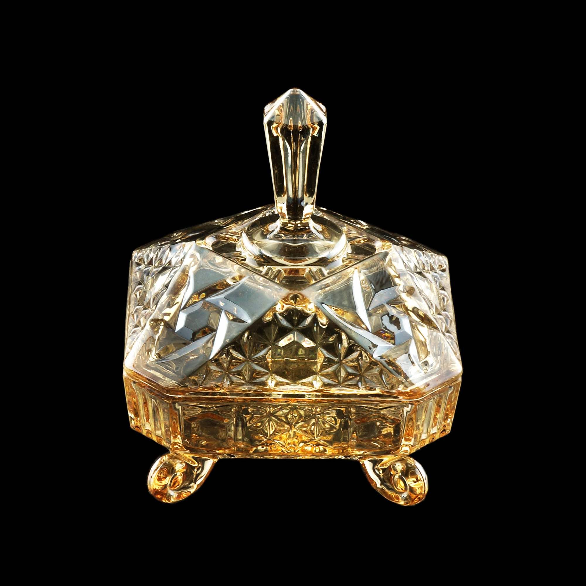 Bomboniere / Potiche com pé  De Cristal de Chumbo Paladium Ambar 16 X 20 Cm