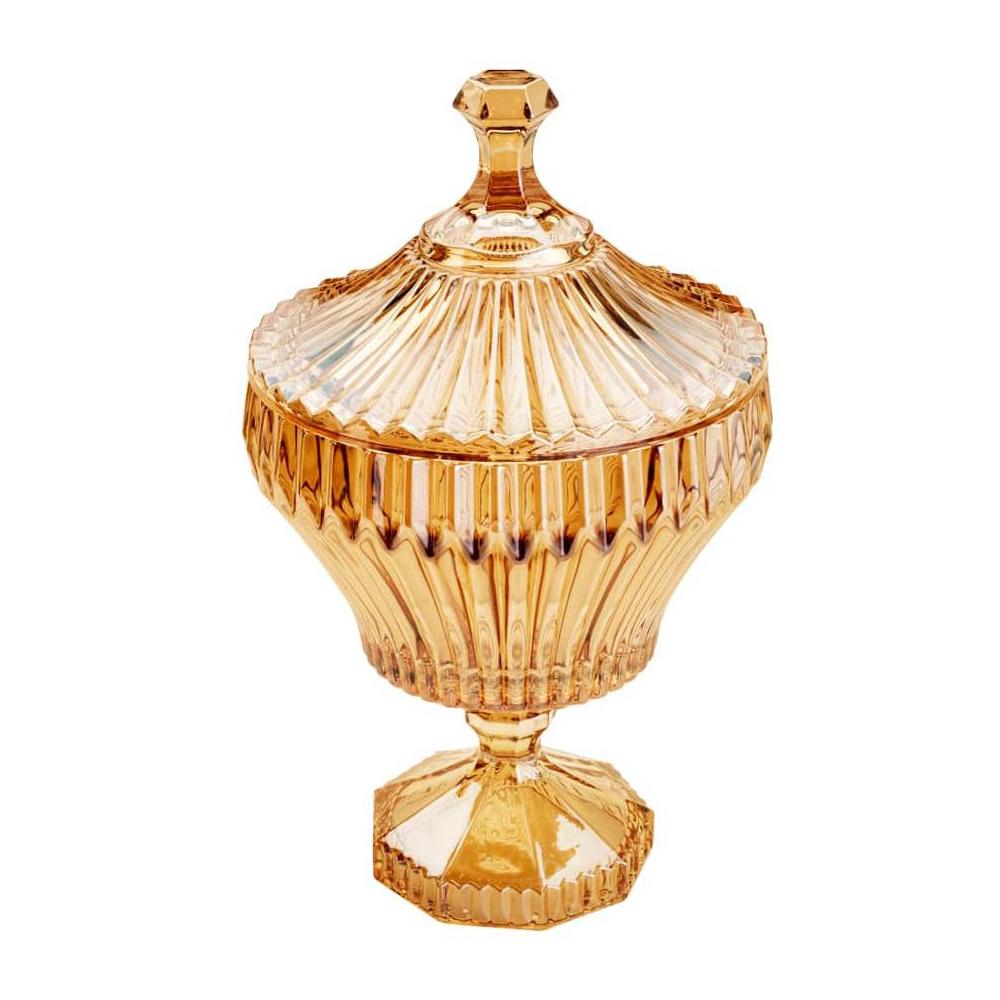 Bomboniere / Potiche com pé  De Cristal de Chumbo Renaissance Ambar 11 X 20 Cm