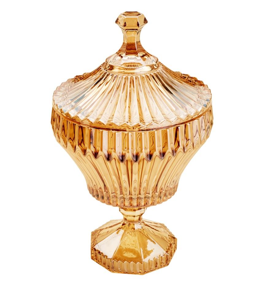 Bomboniere / Potiche com pé  De Cristal de Chumbo Renaissance Ambar 17,5 x 28,5 cm