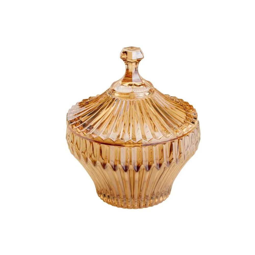 Bomboniere / Potiche De Cristal de Chumbo Renaissance Ambar 11 X 13,5Cm