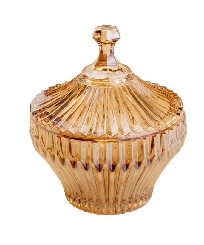 Bomboniere / Potiche De Cristal de Chumbo Renaissance Ambar 17,5 x 20 cm