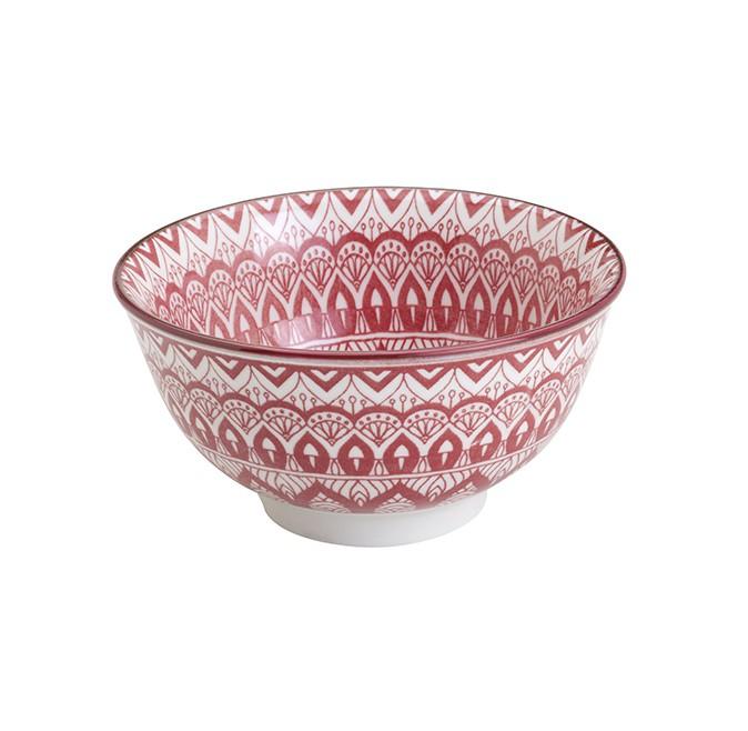Bowl Tigela Cumbuca de Cerâmica Geométrico Branco e Vermelho 12cm