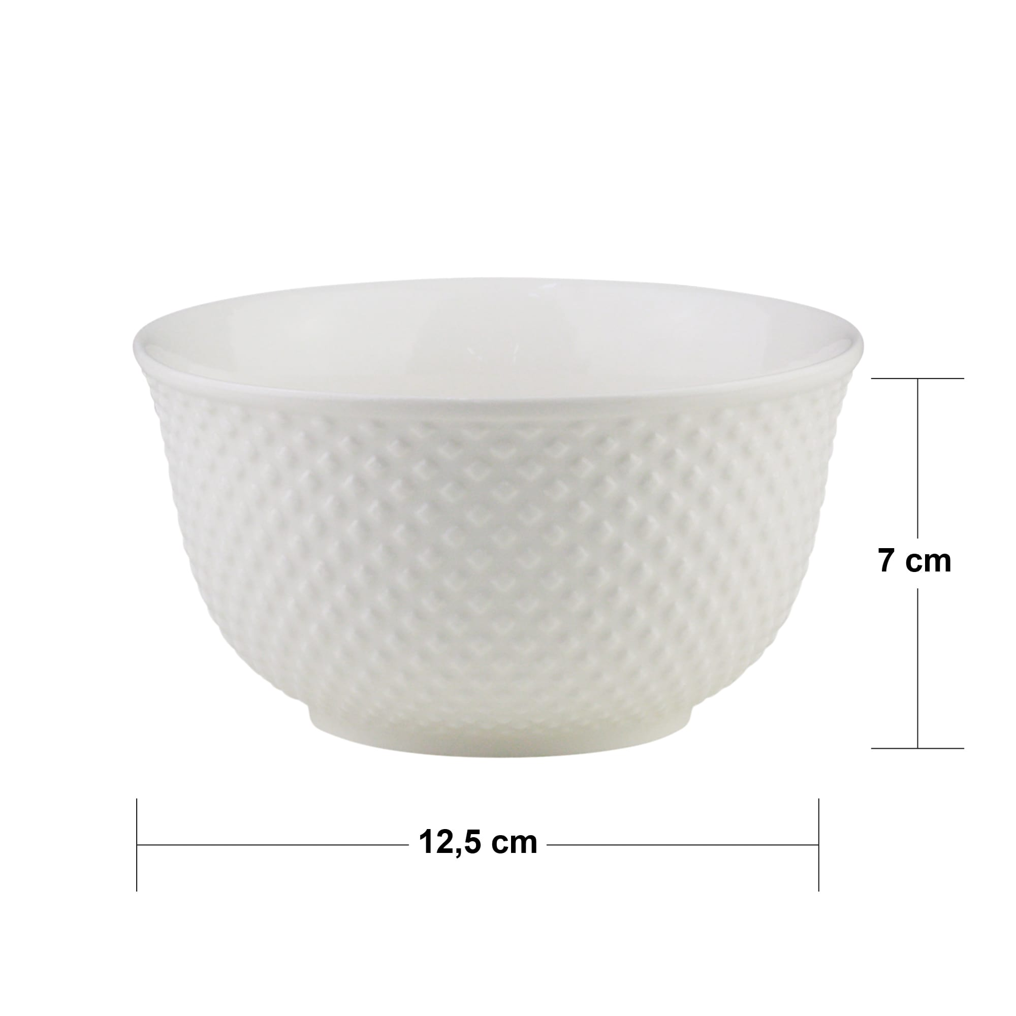 Bowl de Porcelana New Bone Dots Branco 12,5 x 7 cm