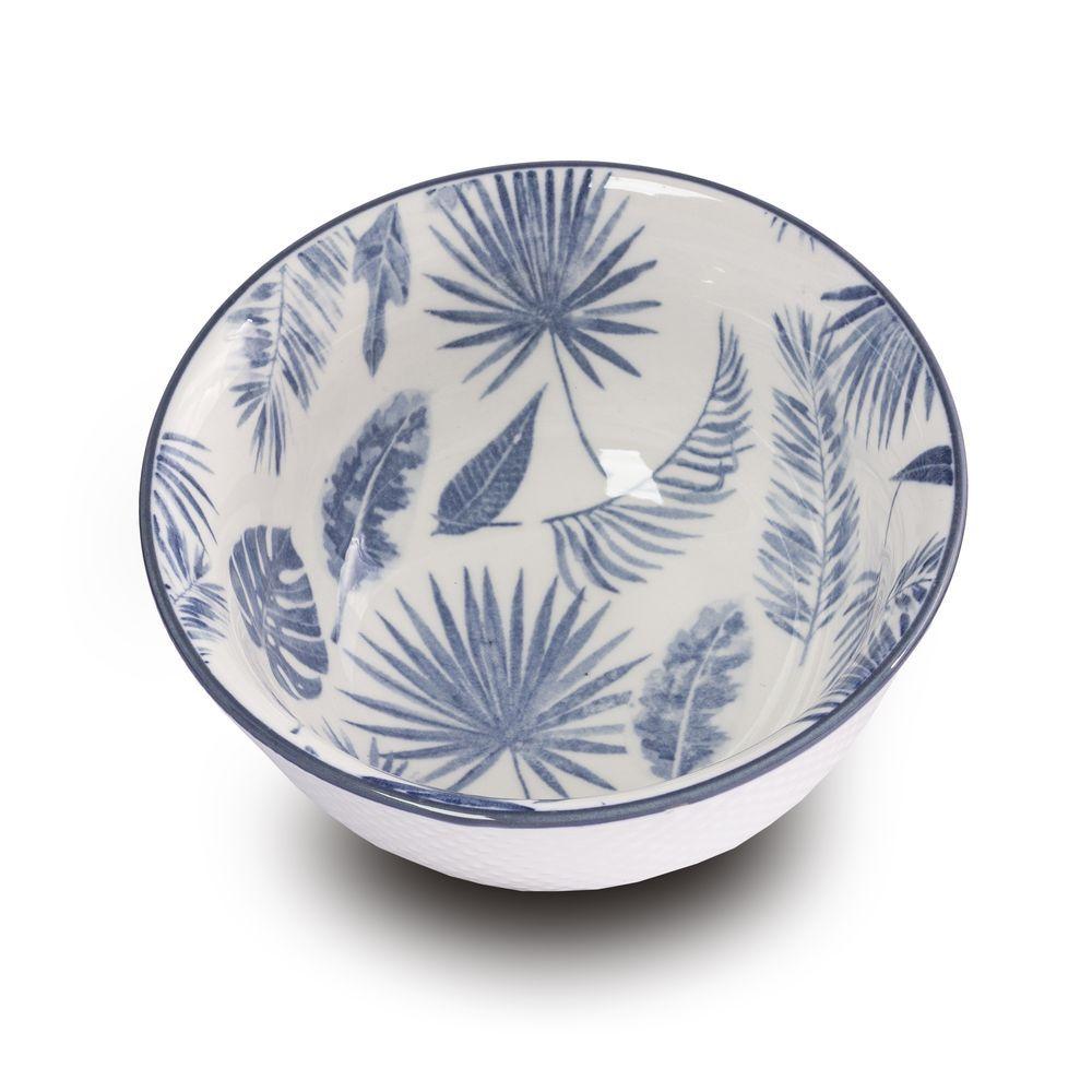 Bowl Tigela Cumbuca Cereais Molhos Folhas Azuis 12,5 X 6 Cm