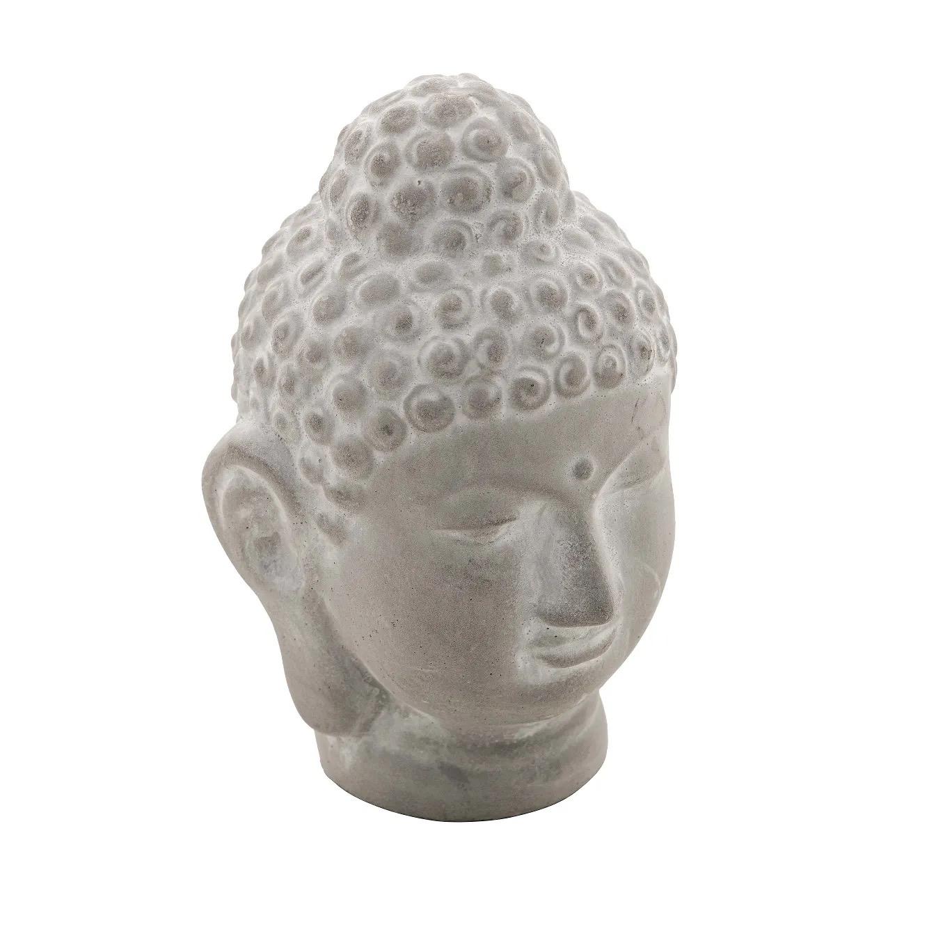 Buda Cabeça Hindu Namastê Tibetano Sidarta Concreto Cinza 8 x 8 x 12,5cm