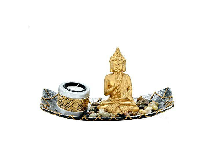 Buda com Candelabro e Pedras - Bandeja Retangular