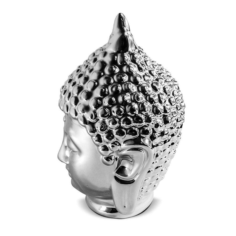 Buda Hindu Namastê em Cerâmica Prata 15x23cm