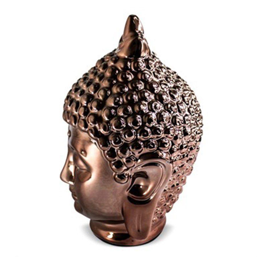 Buda Hindu Namastê em Cerâmica Rose Gold 15x23cm