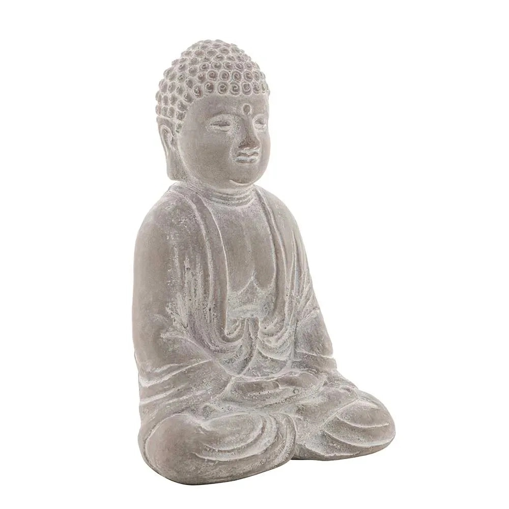 Buda Sentado Hindu Namastê Tibetano Sidarta Concreto Cinza 11,5x8,5x15,5cm