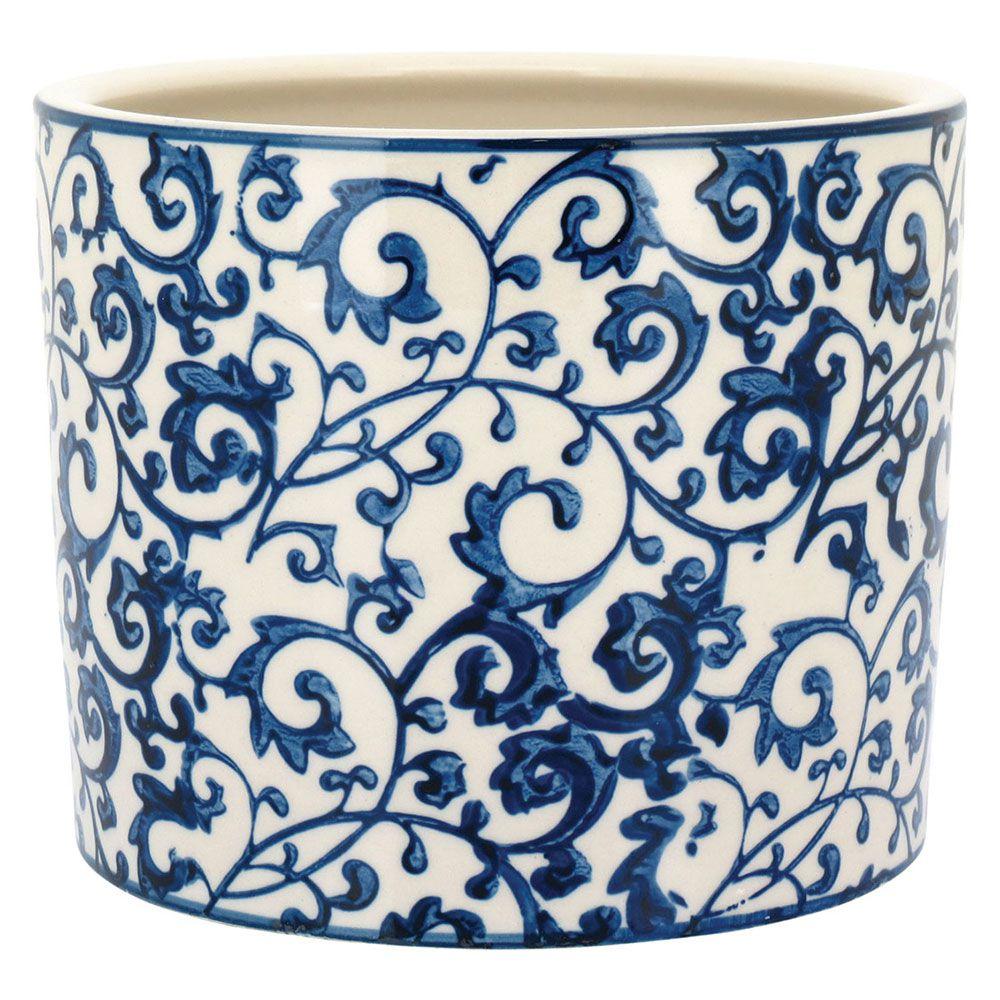 Cachepô Vaso Cerâmica Eulalia 14cm Off White e Azul Home&Co