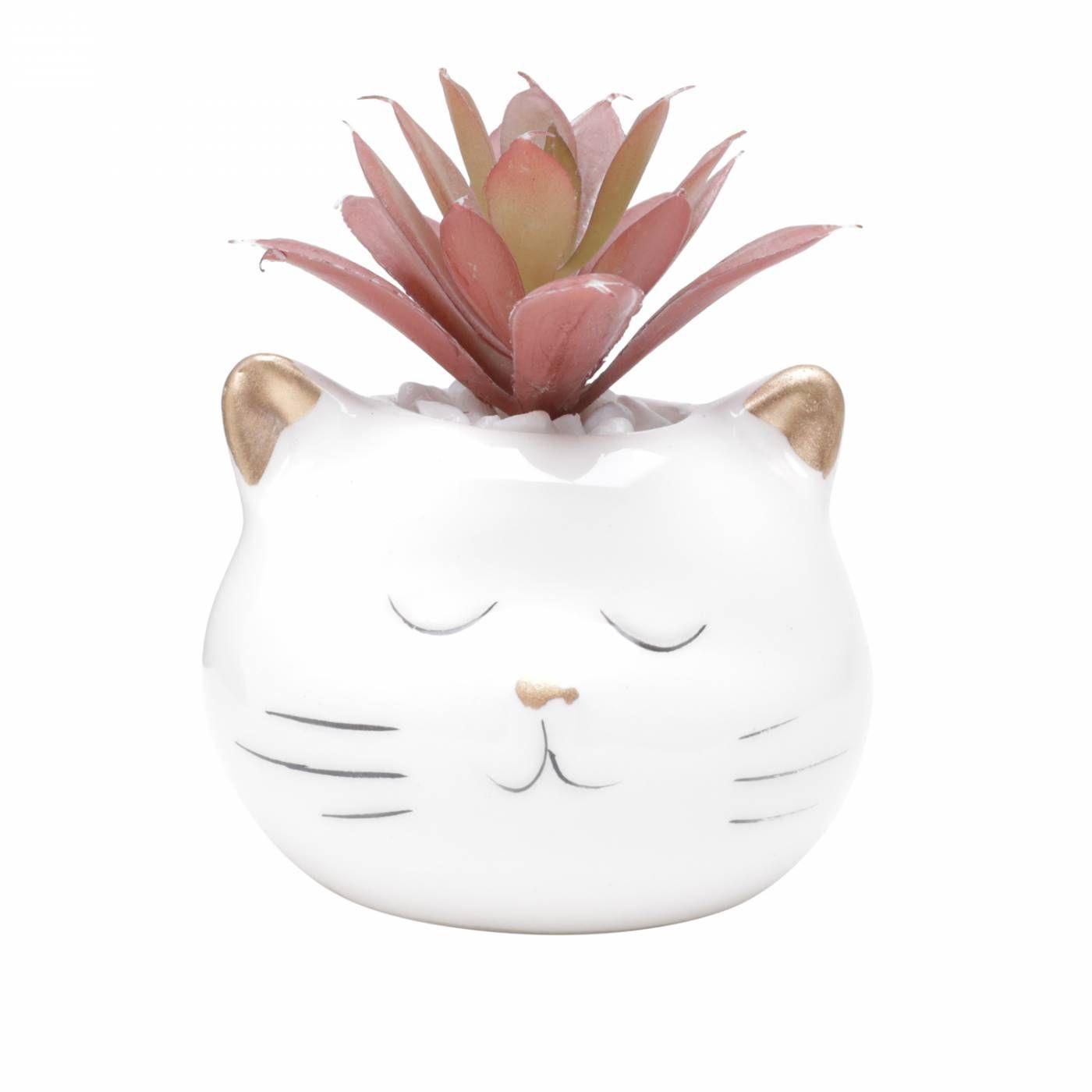 Cachepot Ceramica Com Planta Artificial Cat Face 7,8X7,5X8,2cm Branco Urban