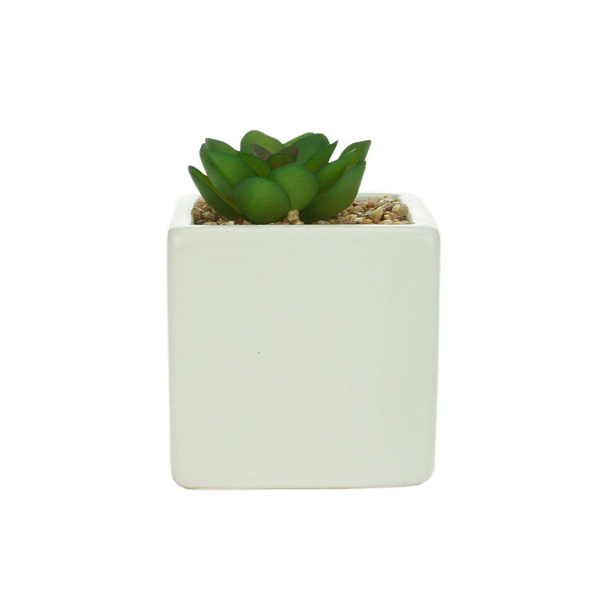 Cachepot Cerâmica Branco com Planta Artificial Decoração
