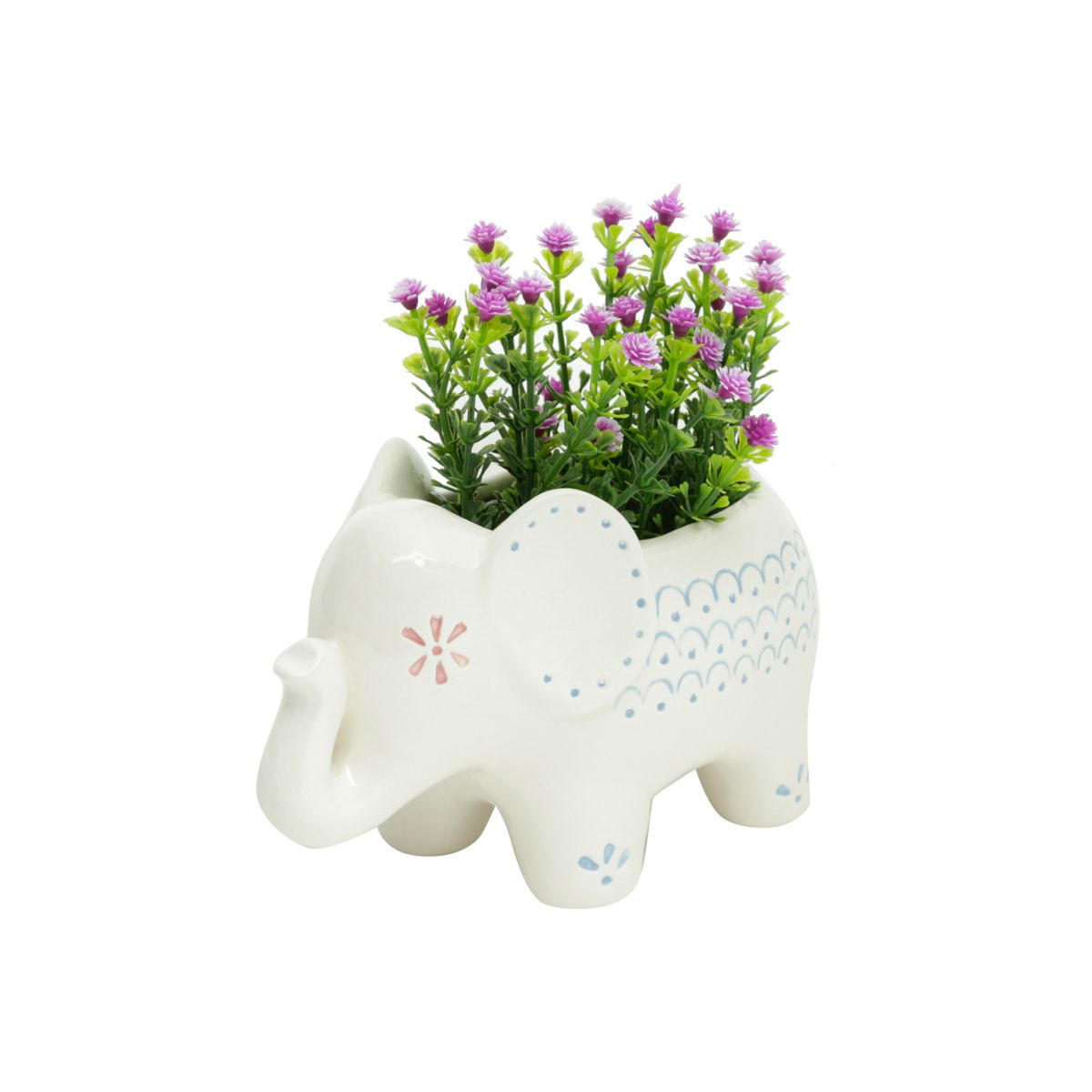 Cachepot Cerâmica Elephant 16cmx9cmx10cm Animals Dots Urban Branco