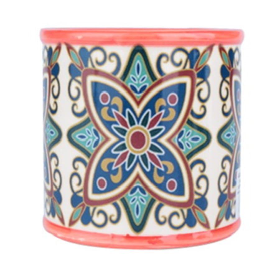 Cachepot Ceramica Rounded Floral Vintage Vermelho