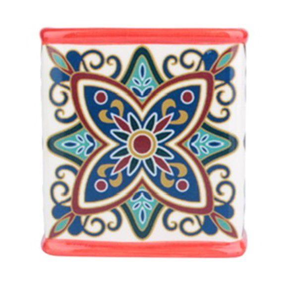 Cachepot Cerâmica Squared Floral Vintage Vermelho