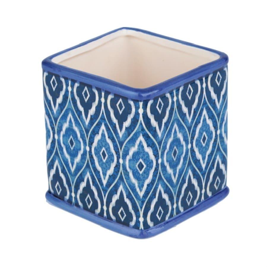 Cachepot Cerâmica Squared Morrocan Blue