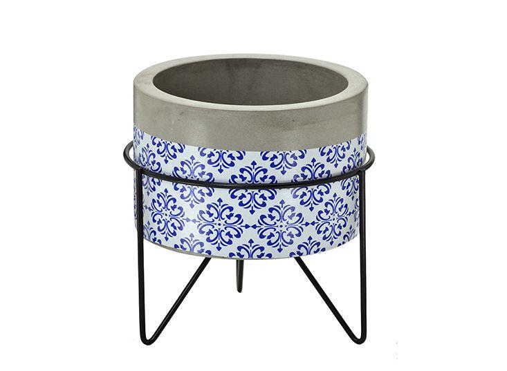 Cachepot Azul Com Suporte Metal Decoração Plantas Suculentas Flores