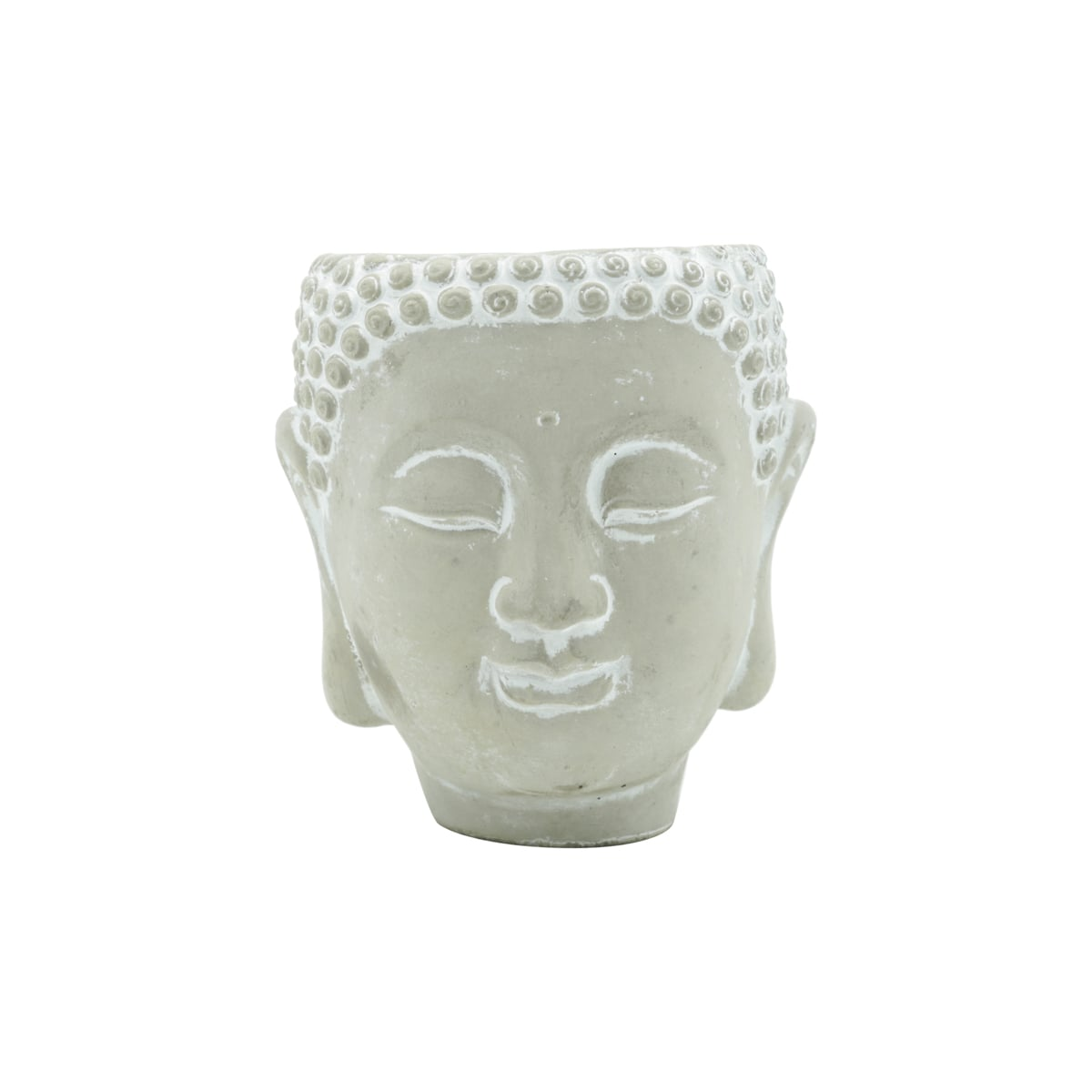 Cachepot  Concreto Buda Face Cinza 12X12X13cm