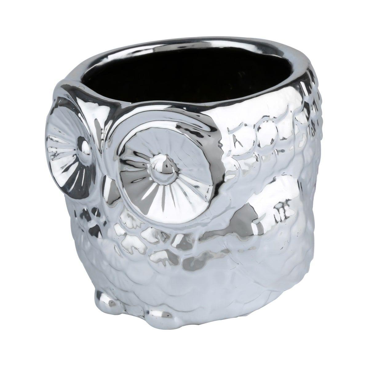 Cachepot Coruja em Cerâmica Prata