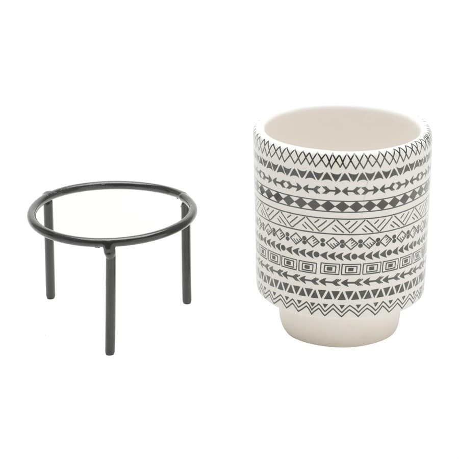 Cachepot de Cerâmica com Suporte Metal Aztec Native