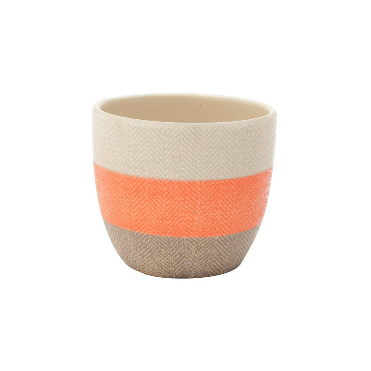 Cachepot Cerâmica Wool Style Cru/Marrom/Laranja 14X14X12CM