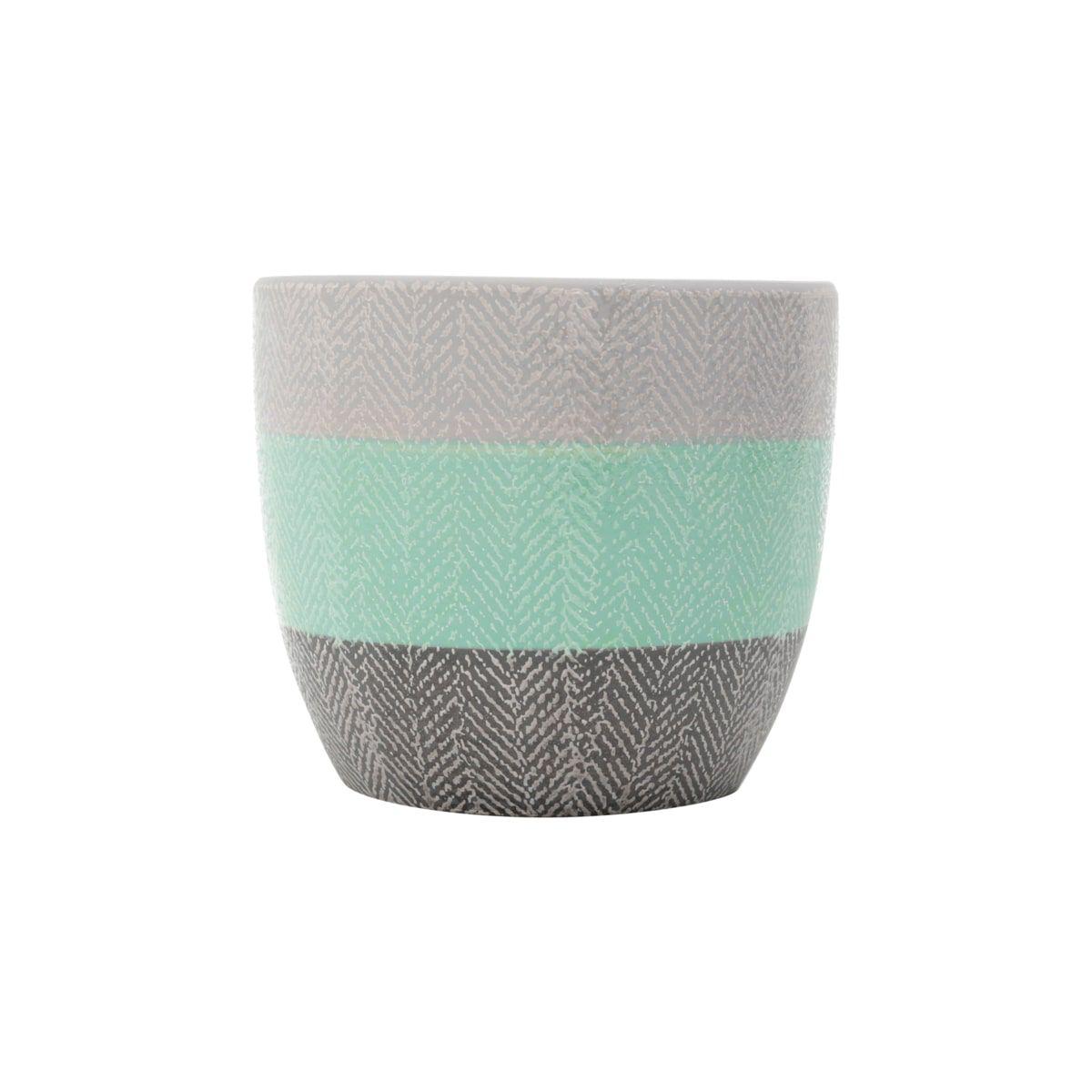 Cachepot Cerâmica Wool Style Cinza/verde/preto 14x14x12cm