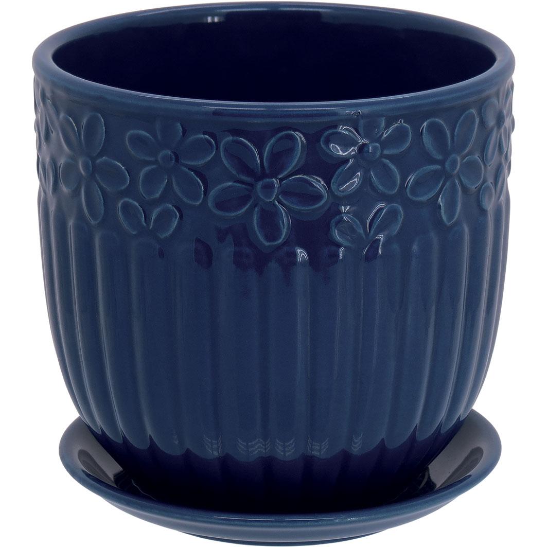 Cachepot em Cerâmica Azul com Prato Acoplado 15x15cm