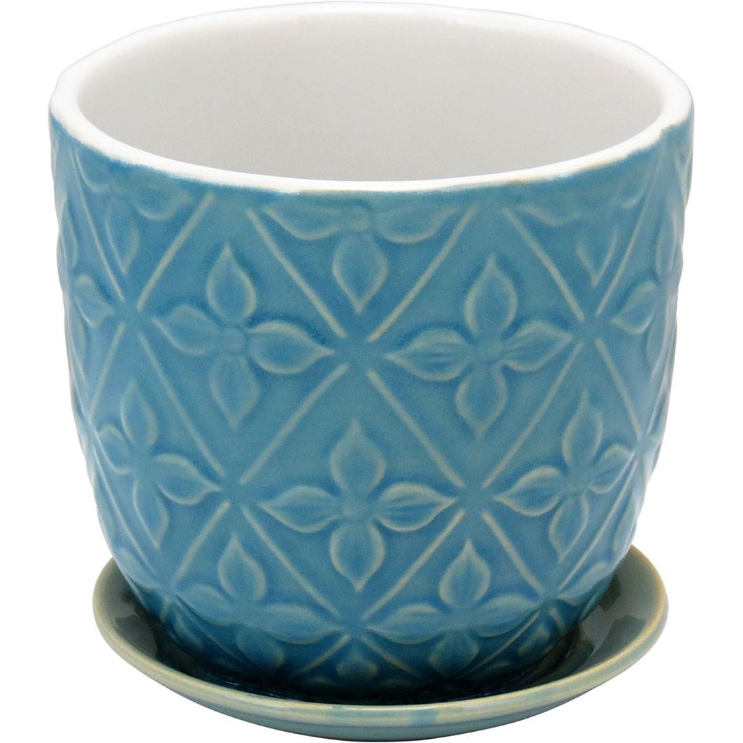 Cachepot em Cerâmica Azul e Folhas com Prato Acoplado