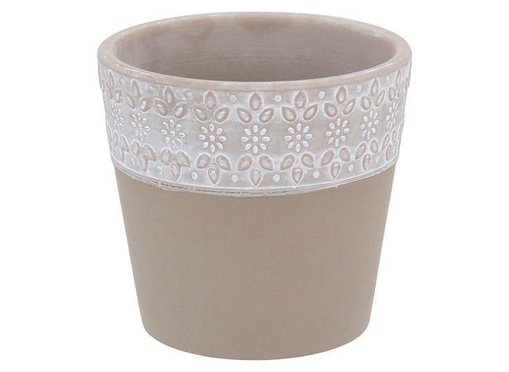 Cachepot em cerâmica Bege 13 cm