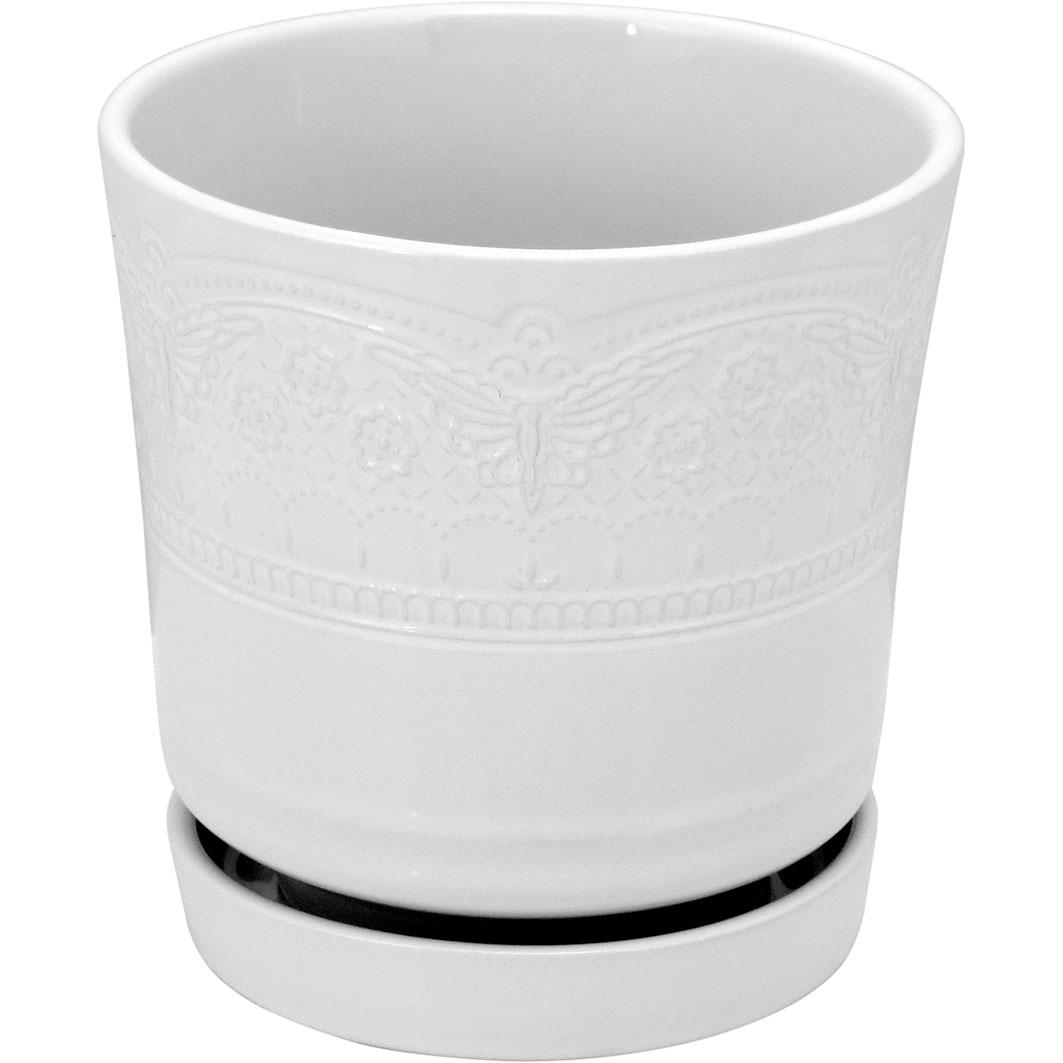 Cachepot em Cerâmica Branco com Flores com Prato Acoplado 15x15