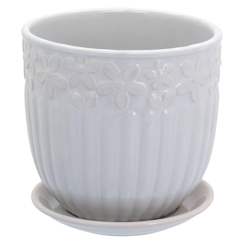 Cachepot em Cerâmica Branco com Flores com Prato Acoplado