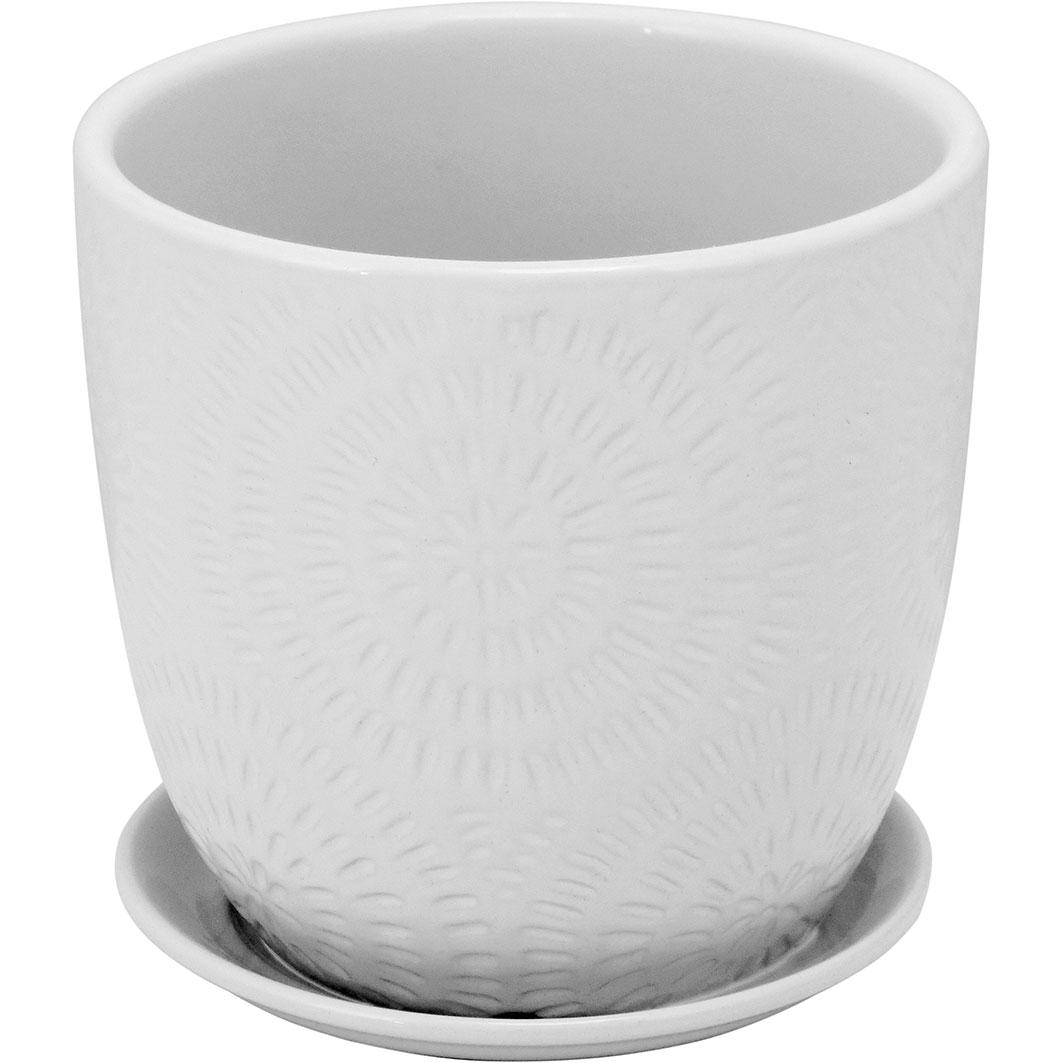 Cachepot em Cerâmica Branco com Prato Acoplado 14,5 x 14,5