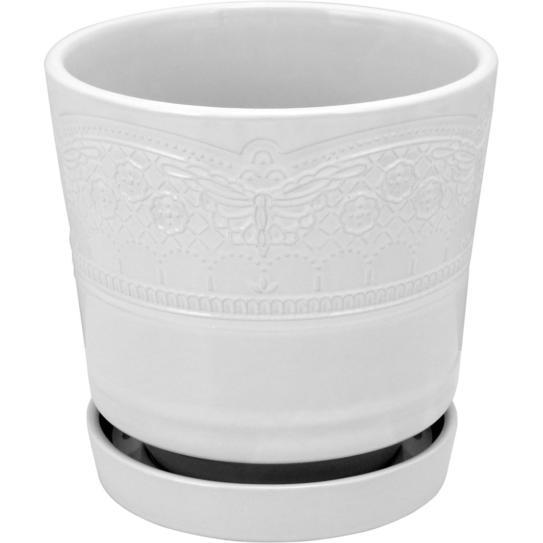 Cachepot em Cerâmica Branco com Prato Acoplado 18x18