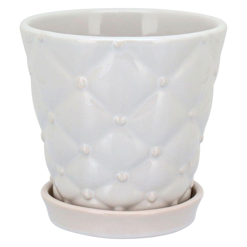 Cachepot em Cerâmica Branco com Prato Acoplado