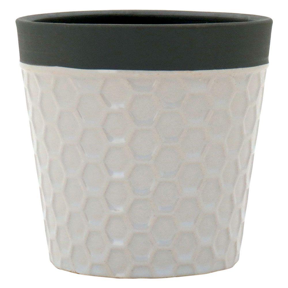 Cachepot em Cerâmica Branco Decoração Moderna Casa/Jardim 10x10cm