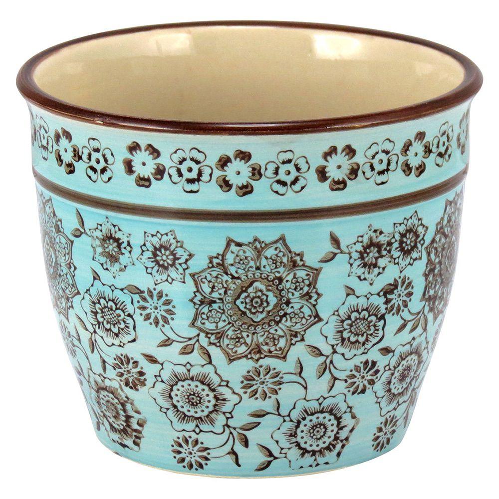 Cachepot em Cerâmica Marrom e Azul